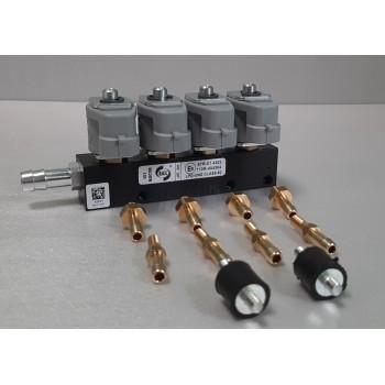 Форсунки Rail IG-1 4 цилиндра,  2 Ом со штуцерами в коллектор и с калибровочными штуцерами